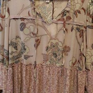 Knox Rose Tops - Knox Rose Pink Floral BoHo Blouse Plus Size XXL